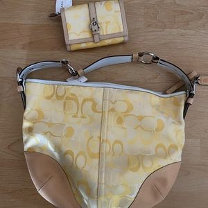 NWT Yellow optic Coach shoulder bag and wallet
